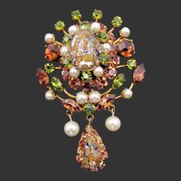 Vintage Austrian Foiled Cabochon and Rhinestone and Faux Pearl Drop Brooch