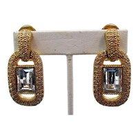 Signed Christian Dior Crystal Rhinestone Drop Clip Earrings