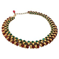 Trifari Jewels of India Moghul Flawed Emerald, Sapphire and Ruby Cabochon Collar Necklace