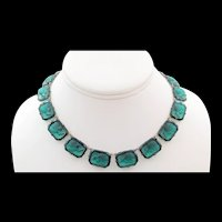Art Deco FNCO Fishel Nessler Green Glass Intaglio Cameo Necklace