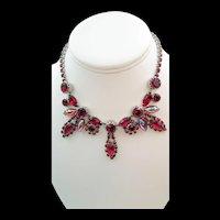 Stunning Deep Ruby Red Rhinestone and Aurora Borealis Cabochon Necklace