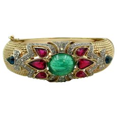 "Crown Trifari Alfred Philippe ""Jewels of India"" Flawed Cabochon Clamp Bracelet"
