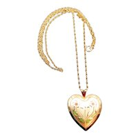 """14K Gold Filled Etched Heart Lock and 24"""" Chain Necklace"""