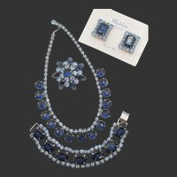 Vintage Madeleine Blue Rhinestone Necklace, Bracelet, Brooch and Clip Earring Grand Parure Set