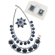 Vintage Madeleine Blue Rhinestone Necklace, Bracelet, Brooch and Clip Earring Grand Parure Set