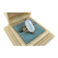 Antique 18k Gold Mother of Pearl Goddess Hebe Intaglio Blue Sapphire Ring