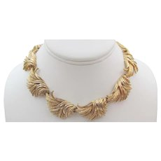 Vintage Signed Boucher Classic Gold Tone Leaf Design Necklace