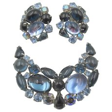 Weiss Blues Cabochon Rhinestone  Brooch and Earring Set