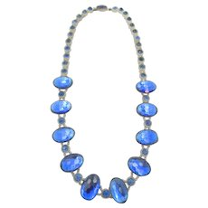 Signed Czechoslovakia Art Deco Blue Rhinestone Glass Necklace