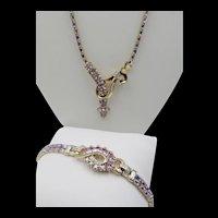 Exquisite Mazer Bros. Alexandrite Baguette Rhinestone Necklace and Bracelet