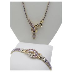 Exquisite Mazer Bros. Alexandrite Baguette Rhinestone Necklace and Bracelet