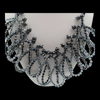 Modernist Wire Glass Black and Gray Faceted Beaded Loop Necklace