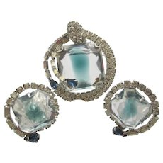 Gorgeous Blue Givre Rhinestone Crystal Brooch and Earring Set