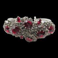 Signed Schoffel Austria Ruby Red and Crystal Rhinestone Cuff Bracelet