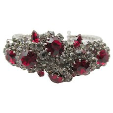 Signed Schoffel Austria Ruby Red and Crystal Rhinestone Cuff Bracelet