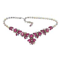 Stunning Signed Vendome Fuchsia Pink and Aurora Borealis Drop Necklace