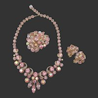 Exquisite Kramer Pink Open-back Rhinestone Necklace, Brooch and Earring Parure