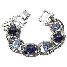 Vintage Kafin NY Chunky Sapphire and Light Blue Rhinestone Bracelet