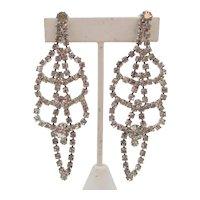Dazzling Vintage Crystal Rhinestone Shoulder Duster Clip Earrings