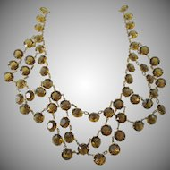 LAST CHANCE:  1930s Czech Bezel Set Rhinestone Festoon Brass Necklace