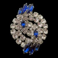 Exquisite Vintage Crystal and Sapphire Blue Rhinestone Brooch Pin