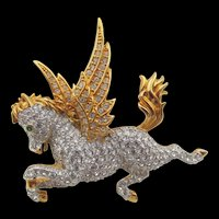 Swarovski Pegasus Crystal  Rhinestone Swan Signature Brooch Pin