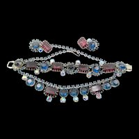 Gorgeous Purple and Blue Rhodium Plated Necklace, Bracelet and Earring Parure