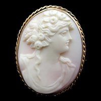Antique 18k Gold Shell Cameo Portrait Brooch/Pendant