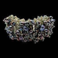 Vintage Blues, Purples Glass Beaded Wide Bracelet