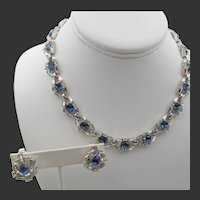 Crown Trifari Sapphire Blue and Crystal Baguette Rhinestone Necklace and Earring Set