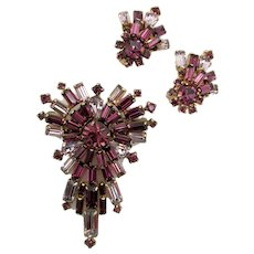 Vintage Purple and Orchid Baguette Rhinestone Brooch and Clip Earring Set