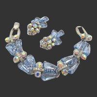 DeLizza & Elster Juliana  Light Blue Pentagon Rhinestone Five Link Bracelet and Earrings - Book Piece
