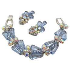 DeLizza & Elster Juliana  Light Blue Pentagon Rhinestone Five Link Bracelet and Earrings - Book Piece