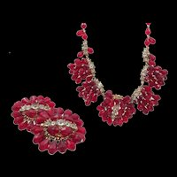 Fabulous Hobe Red Glass Dangle Rhinestone Necklace and Clip Earring Set