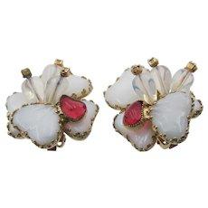 Signed Julio Marsella Heart Lampwork Glass Clip Earrings