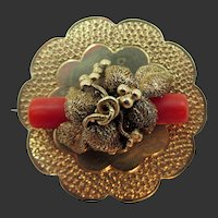 Victorian Gold Filled Coral Branch Pin/Pendant
