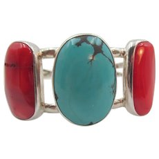 Gorgeous Sterling Large Turquoise and Coral Cuff Bracelet