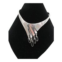 Antoinette Platero Sterling Silver and Onyx Drop Collar Necklace