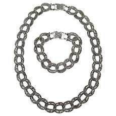 Stunning Sterling Silver Marcasite Double Link Necklace and Bracelet Set