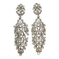 Gorgeous Trifari Crystal 3 Inch Drop Earrings