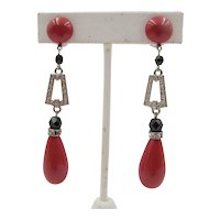French Art Deco Style Drop Carnelian and Black Beaded Clip Earrings