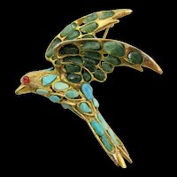 Swoboda Turquoise and Jade Bird in Flight Brooch