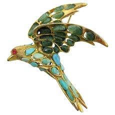 Swoboda Turquoise and Jade Bird in Flight Brooch