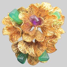 Rolled Gold Jade and Amethyst Stylized Floral Brooch