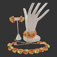 Glowing Yellow, Orange-Red Tulip Glass Enamel Necklace, Bracelet, Earring Parure