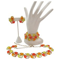 Glowing Yellow, Orange-Red Tulip Glass Enamel Necklace, Bracelet, Earring Parure