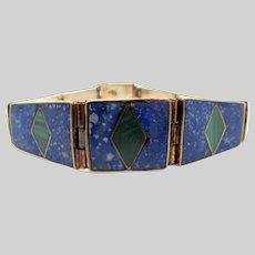 Exquisite Fine Silver Lapis Lazuli Inlaid Malachite Bracelet