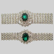 Vintage Emerald Green and Crystal Rhinestone Choker Necklace and Bracelet