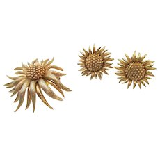 Boucher Gold Plated Sunflower Brooch and Earring Set
