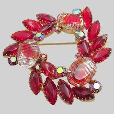 DeLizza & Elster Juliana Red Navette and Givre Molded Cabochon Brooch